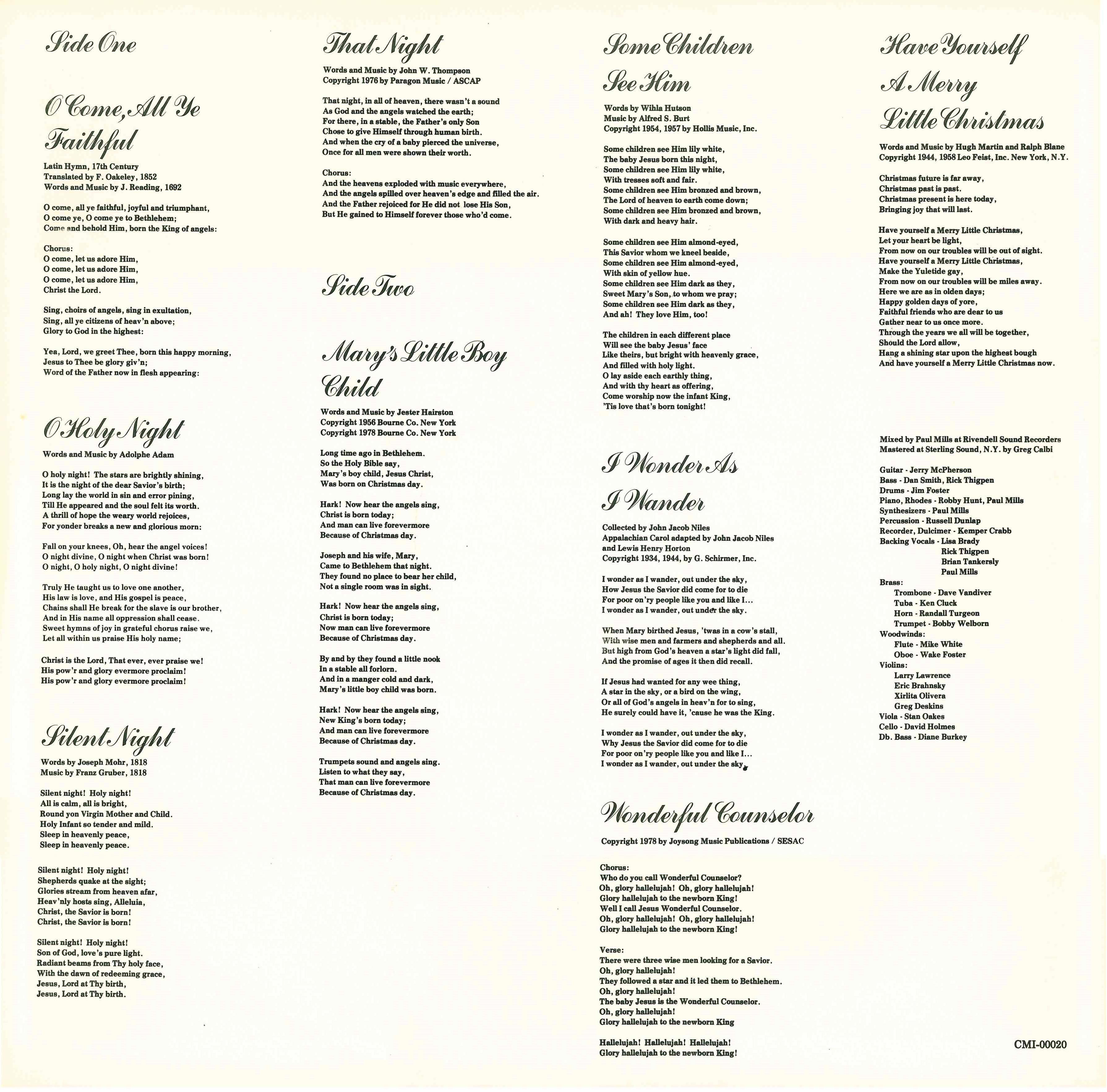 front cover back cover lyrics - Christmas Hallelujah Lyrics