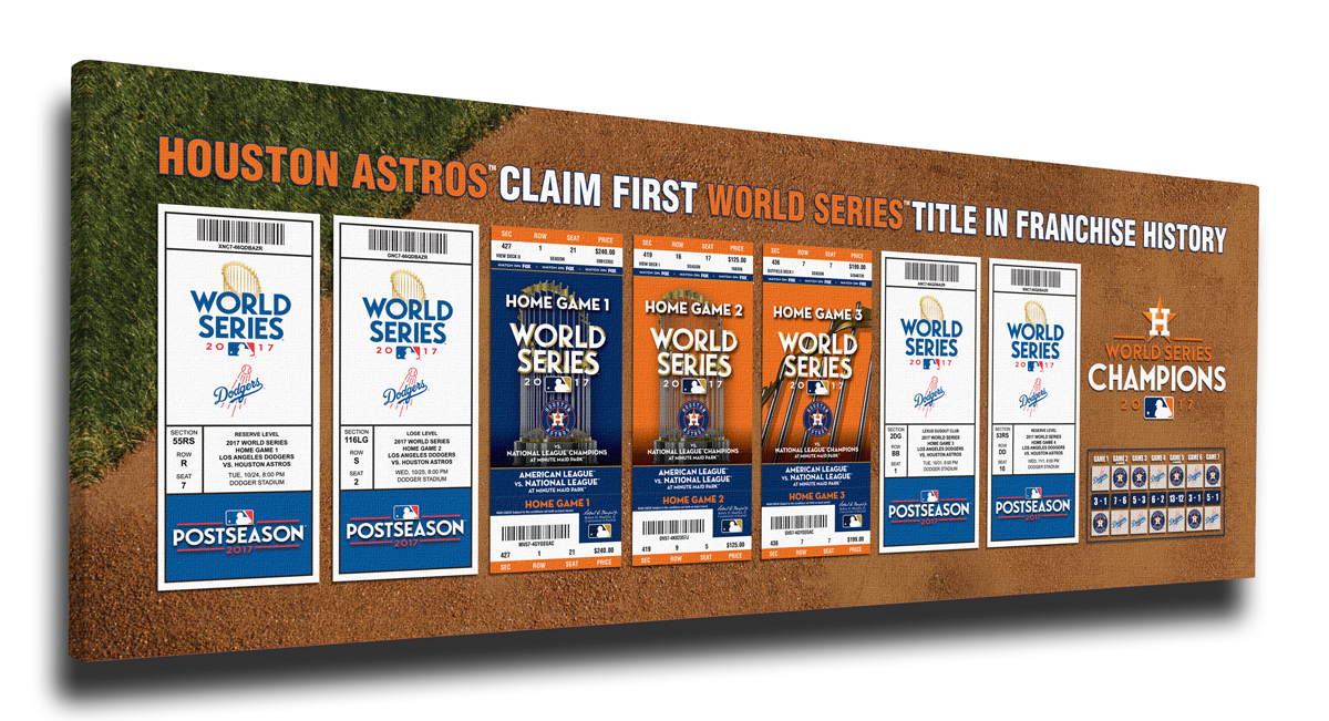 8c3726d6b THE HOUSTON ASTROS 2017 WORLD SERIES CHAMPIONS! Team Poster Team autographed  bat Commemorative ring · Set of World Series tickets ...